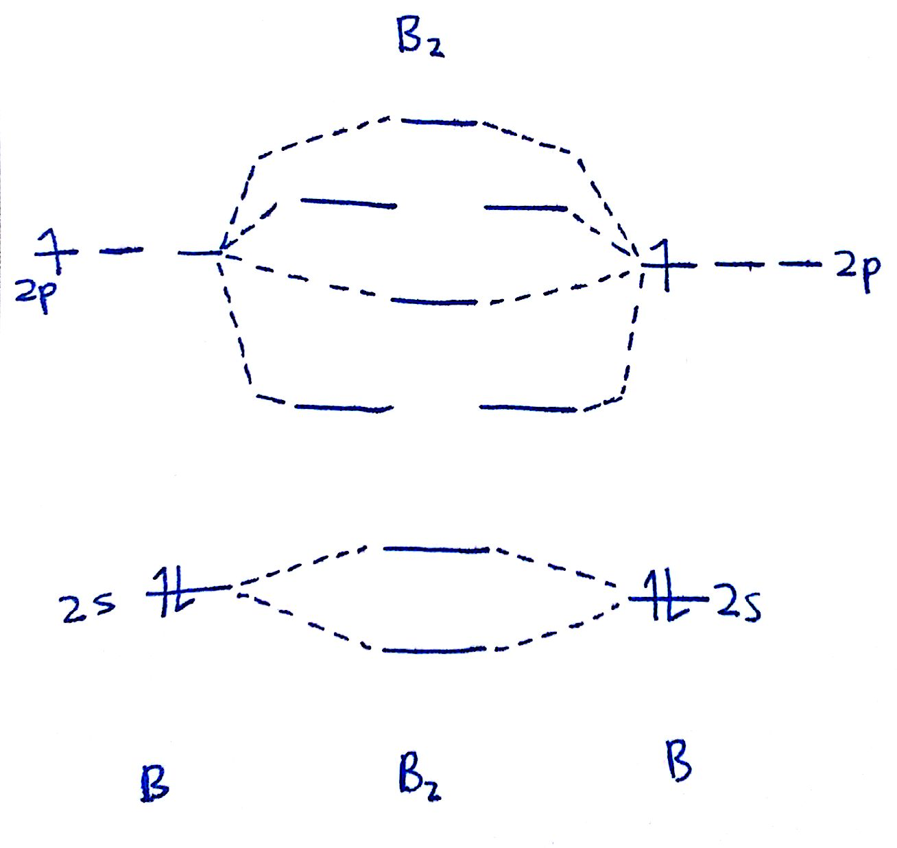 draw out the mo diagram and label in the valence electrons  boron has 2  electrons in the 2s 2 s orbitals and 1 electron in the 2p 2 p orbital